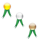 Badges green ribbon Stock Images