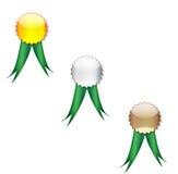 Badges green ribbon Stock Images
