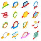 Badges icons set, isometric 3d style Stock Image