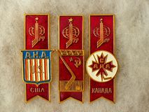 Badges with the inscription `USA, USSR, Canada, emblem World Hockey Championship 79` from the series `World Hockey Championship,. 1979 USSR`. Closeup stock images