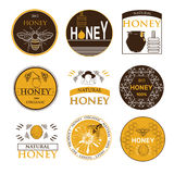 Badges and labels design for bee design. Honey icons set with beehive wax cell flying bee isolated vector illustration. Badges and labels design Royalty Free Stock Photos