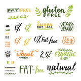 Badges and labels for homemade natural products. Gmo, gluten, fat, wheat and sugar free handwritten texts. Vector design Royalty Free Stock Images