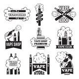Badges and labels with illustrations of vapor from electric cigarette. Pictures for vaping club or shop Royalty Free Stock Photo
