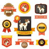 Badges, labels, ribbons with cute dogs, icons and Royalty Free Stock Photo