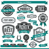 Badges Labels. Set of eighteen vector design badges labels and ribbons isolated on white background. Colors dark gray and green. Text: 100% guaranteed, money royalty free illustration