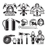 Badges and labels set for fire department. Firefighter and fire department emblem, vector ilustration Stock Photos
