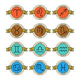 Badges and labels with zodiac signs for horoscopes, predictions Royalty Free Stock Images