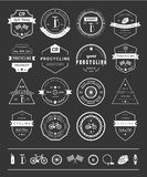 Badges and logos Cycling. Set of badges and logos cycling. Symbols and emblems pro bike shop and equipment, cycling club and repair shops Royalty Free Stock Photo
