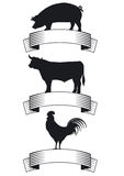 Badges for meat products. Illustration of silhouettes of a pig, cow and cockerel for three farm products, beef, pork and poultry  each with a blank banner for Royalty Free Stock Photos