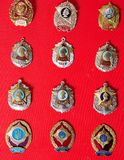 Badges, military school,, collection. Badges, military school, badges of the military Suvorov Cadet School for many years, collection Royalty Free Stock Image