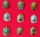 Badges, military school,, collection. Badges, military school, badges of the military Suvorov Cadet School for many years, collection Royalty Free Stock Photos
