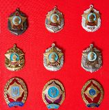 Badges, military school,, collection. Badges, military school, badges of the military Suvorov Cadet School for many years, collection Stock Images