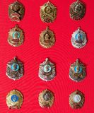Badges, military school,, collection. Badges, military school, badges of the military Suvorov Cadet School for many years, collection Royalty Free Stock Images