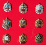 Badges, military school,, collection. Badges, military school, badges of the military Suvorov Cadet School for many years, collection Stock Photos