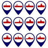 Badges with Navy ships-2 Stock Images