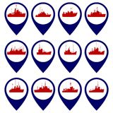 Badges with Navy ships-3 Stock Image