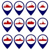 Badges with Navy ships-4 Royalty Free Stock Photography