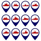 Badges with Navy ships Royalty Free Stock Images