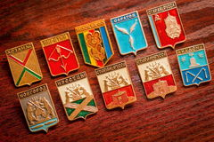 Badges. Old badges with coats of arms of cities Royalty Free Stock Photos