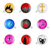 Badges with a pin. Set of icons with a pin and a sad drawing Royalty Free Stock Photo