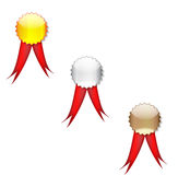 Badges red ribbon Stock Photography