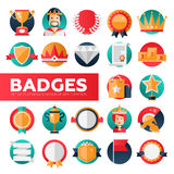 Badges, ribbons, awards icons set Stock Image