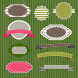 Badges and ribbons. Set of emblems and ribbons zelenomfone Stock Photos