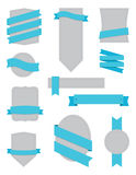 Badges and Ribbons Turquoise. A set of badges and ribbons for print and web Stock Photography