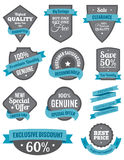 Badges and Ribbons Turquoise Two. A set of badges and ribbons for print and web Royalty Free Stock Photos