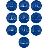 Badges with sailing ships Royalty Free Stock Images