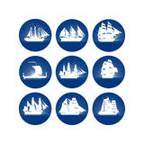 Badges with sailing ships Stock Photography