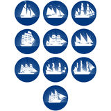 Badges with sailing ships Stock Images