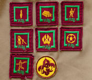 Badges on scout uniform Royalty Free Stock Photos