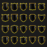 Badges - Set 3 - Black with Gold Borders Royalty Free Stock Image
