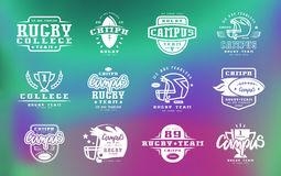 Badges set of campus rugby team Royalty Free Stock Image
