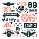 Badges set of the college rugby team Stock Photo