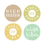 Badges set.High protein, fiber. Badges set. High protein, fiber, source of protein. Vector hand drawn illustration vector illustration