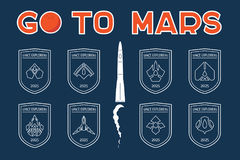 Go to Mars vector badges set Royalty Free Stock Photos