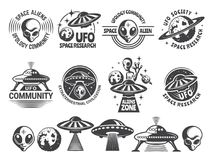 Badges set with ufo and aliens. Vector design templates with place for your text vector illustration