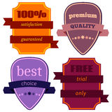 Badges-12. Set of Vector Badges with Ribbons. Web stickers and labels. Isolated vector illustration Stock Photography