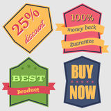 Badges-15. Set of Vector Badges with Ribbons. Web stickers and labels. vector illustration vector illustration