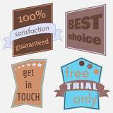 Badges-33. Set of Vector Badges with Ribbons. Web stickers and labels.  vector illustration Royalty Free Stock Image
