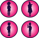 Badges with silhouettes of kids in halloween suits Stock Photography