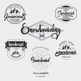 Badges Snowboard handmade designed brush lettering, for design presentations Stock Photography