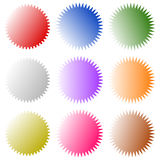 Badges, starburst sunburst shape set. Blank stickers like grap Royalty Free Stock Photo
