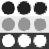 Badges, starburst sunburst shape set. Blank stickers like grap Stock Photo