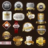Badges. And stickers gold and silver royalty free illustration