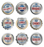 Badges and Stickers. Set of Luxury Silver with Gold, Red and Navy Details. Best Quality. Royalty Free Stock Photography