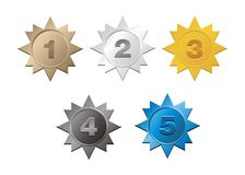 1,2,3,4,5 badges Royalty Free Stock Images