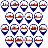 Badges with support vessels Royalty Free Stock Image